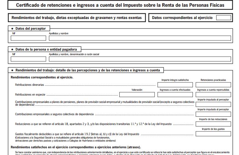 Certificado de Retenciones e Ingresos a Cuenta del IRPF