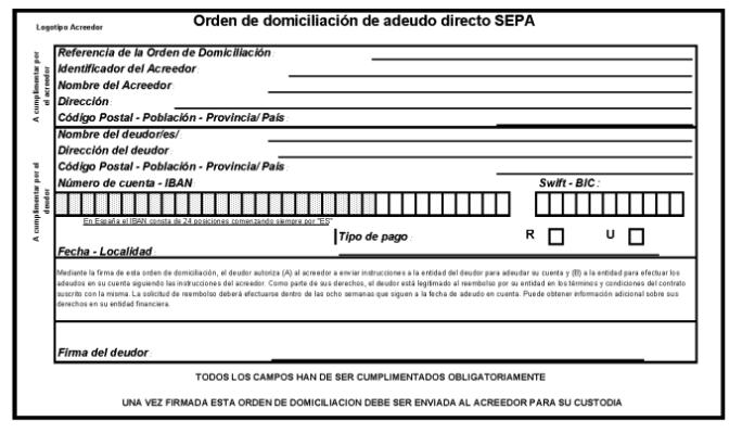 Orden de domiciliación de adeudo directo SEPA
